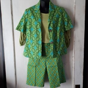 Coldwater Creek 3 Piece Green Summer Suit Size 4-6
